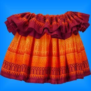 タヒチアン スカート 45cm丈 オレンジ 2138|emika