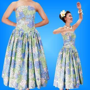 フラダンス ムームー ストラップレス ミディ丈ドレス ブルー LLサイズ 2196blLL