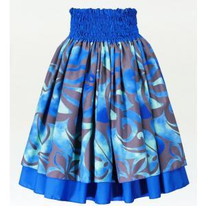 フラダンス ダブル リバーシブル パウスカート 73cm丈 ブルー 2223|emika