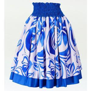 フラダンス ダブル リバーシブル パウスカート 73cm丈 ブルー 2226|emika