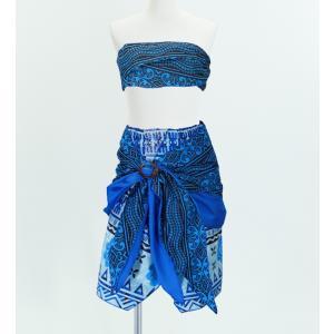 サッシュ付きパレオ風スカート&チューブトップ セット ブルー 2262bl|emika