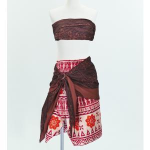 サッシュ付きパレオ風スカート&チューブトップ セット ブラウン 2262br|emika