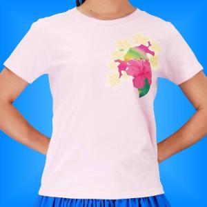 フラTシャツ ハイビスカス ピンク L 2268lp|emika