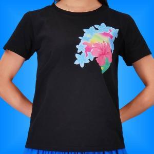 フラTシャツ ハイビスカス ブラック S 2268sb|emika