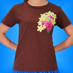 フラTシャツ ハイビスカス  ブラウン XL 2268xlbr|emika