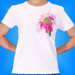 フラTシャツ ハイビスカス  ホワイト XL 2268xlw|emika