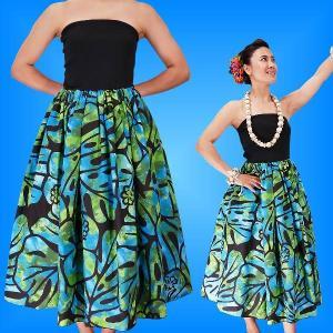 フラダンス チューブトップドレス ブラック×グリーン LLサイズ 2336bgLL|emika