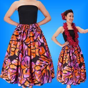 フラダンス チューブトップドレス ブラック×パープル Fサイズ 2336bpF|emika