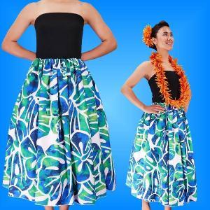 フラダンス チューブトップドレス ホワイト×ブルー Fサイズ 2336wblF|emika