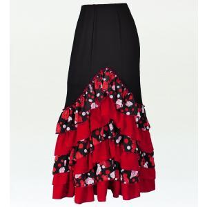 フラメンコ ローズ&水玉 フリル マーメイド ファルダ スカート ブラック フリーサイズ 2350bbf|emika