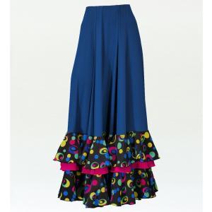 フラメンコ 水玉 フリル ファルダ スカート ブルー×ブラック フリーサイズ 2353blbf|emika