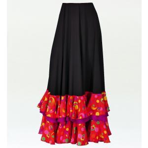 フラメンコ 水玉 フリル ファルダ スカート ブラック×レッド フリーサイズ 2353brf|emika