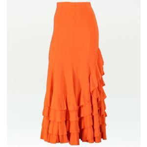 フラメンコ マーメード フリルファルダ スカート オレンジ フリーサイズ 2354o|emika