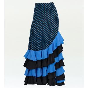 フラメンコ 水玉 フリル マーメイド ファルダ スカート ブルー フリーサイズ 2355bl|emika