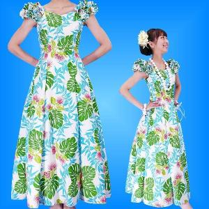フラダンスムームー 袖フリル ロング丈ドレス ブルー Fサイズ 2379blF|emika