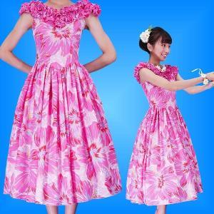 フラダンスムームー フリル ミディ丈ドレス ピンク Fサイズ 2380piF|emika