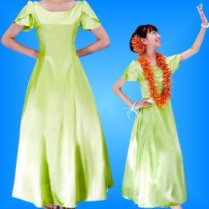 フラダンスムームー チューリップ袖 ロング丈ドレス ライトグリーン Mサイズ 2408lgrM|emika