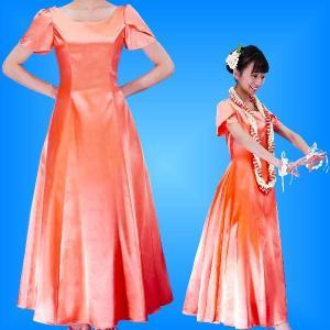 フラダンスムームー チューリップ袖 ロング丈ドレス ライトオレンジ Mサイズ 2408lorM|emika