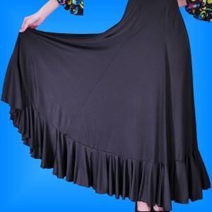 フラメンコ 無地 裾フリル ファルダ スカート ブラック フリーサイズ 2410bk|emika
