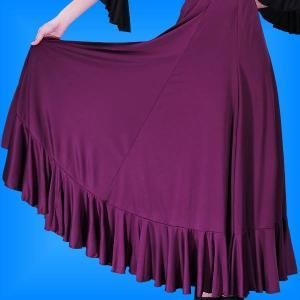 フラメンコ 無地 裾フリル ファルダ スカート パープル フリーサイズ 2410pu|emika