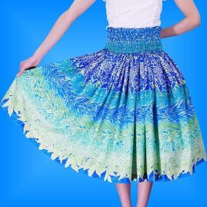 フラダンス パウスカート シングル73cm丈 ブルー 2420