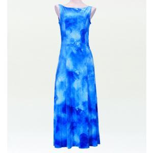 フラダンス ベルベット ボートネックドレス  ブルー Fサイズ 2430blF|emika