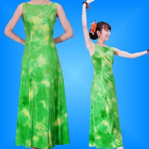 フラダンス ベルベット ボートネックドレス  グリーン Fサイズ 2430grF|emika