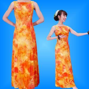 フラダンス ベルベット ボートネックドレス  オレンジ Fサイズ 2430orF|emika
