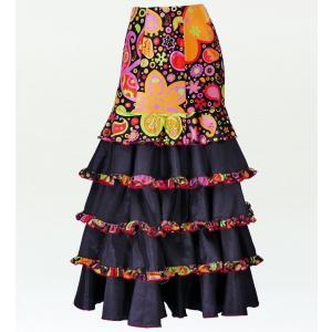 フラメンコ ベルベット マーメード ファルダ スカート ブラック フリーサイズ 2431bkf emika