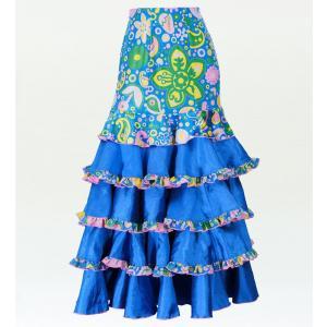 フラメンコ ベルベット マーメード ファルダ スカート ブルー フリーサイズ 2431blf