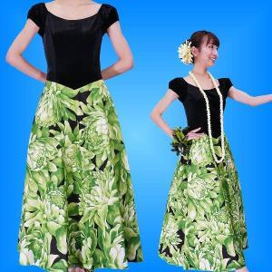 フラダンス ベロア×ハワイアンファブリックドレス  グリーン Fサイズ 2432grF|emika
