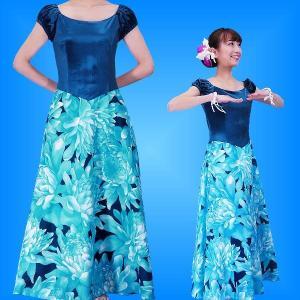 フラダンス ベロア×ハワイアンファブリックドレス  ライトブルー LLサイズ 2432lblLL|emika