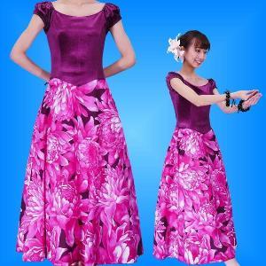 フラダンス ベロア×ハワイアンファブリックドレス  ピンク Fサイズ 2432piF|emika