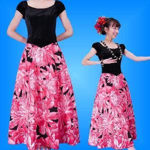 フラダンス ベロア×ハワイアンファブリックドレス  レッド Fサイズ 2432rdF|emika
