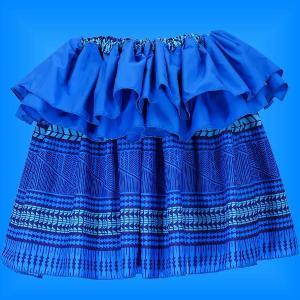 タヒチアン スカート 45cm丈 ブルー 2438|emika
