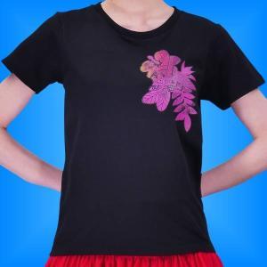 フラダンス Tシャツ 5L ハイビスカス カヒコ ブラック 2445-5lb|emika