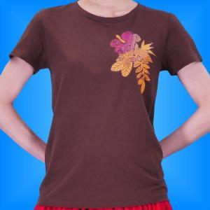 フラダンス Tシャツ S ハイビスカス カヒコ ブラウン 2445sbr|emika