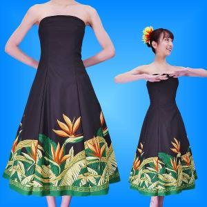 フラダンスムームー ストラップレス ミディ丈ドレス ブラック Fサイズ 2474bkF|emika