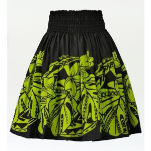 フラダンス パウスカート シングル73cm丈 ブラック×ライトグリーン 2590|emika