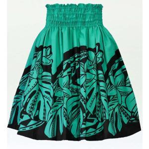 フラダンス パウスカート シングル78cm丈 グリーン×ブラック 2593|emika