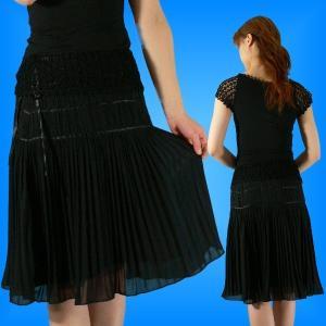 膝丈シフォンプリーツスカート ブラック L 28bl|emika