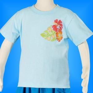 フラダンス ケイキTシャツ キッズ ブルー 100サイズ c21bl100