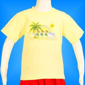 フラダンス ケイキTシャツ キッズ イエロー 100サイズ c6y100