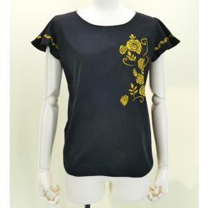 フレンチフリル Tシャツ 刺繍ゴールド ローズ ブラック XLサイズ KD8gbXLb|emika