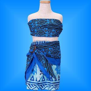 フラダンス ケイキ サッシュ付き上下セット キッズ ブルー 100サイズ p5bl100|emika