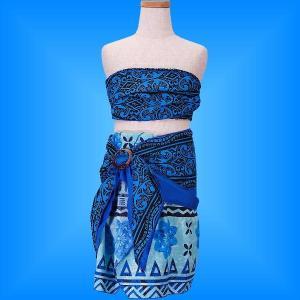 フラダンス ケイキ サッシュ付き上下セット キッズ ブルー 120サイズ p5bl120|emika