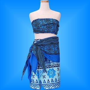 フラダンス ケイキ サッシュ付き上下セット ジュニア ブルー 140サイズ p5bl140|emika
