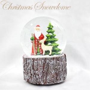 100mmウォータボール サンタとトナカイオルゴール 15738【函館クリスマスファクトリー スノードーム オルゴール】|emiook