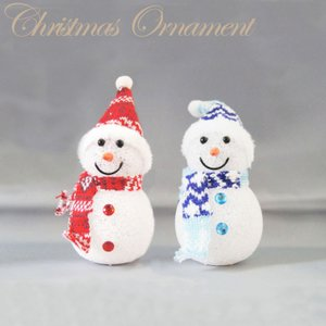 EVAスノーマンM レッド・ブルー(2体1セット)【函館クリスマスファクトリー 雪だるま LEDライト】 emiook