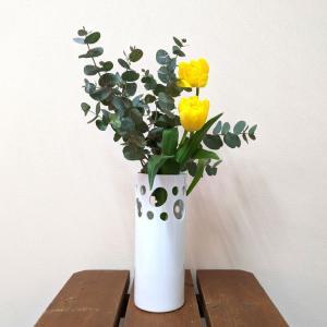7611 バッチャン焼 白 花瓶 水玉|emiook